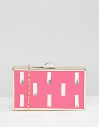 Liquorish Clutch Bag With Rectangular Jewel Detail Pink
