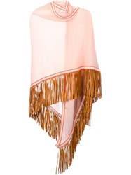Antonia Zander Fringed Shawl Pink And Purple