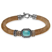 Platadepalo Classic Leather Bracelet With Chalcedony Brown