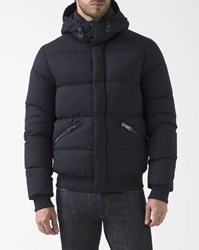 Armani Jeans Navy Blue Feather And Wool Down Jacket With Detachable Hood