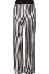 Lanvin Striped Satin Jacquard Wide Leg Pants Midnight Blue