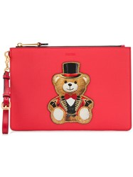Moschino Teddy Print Clutch Bag Red