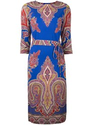 Etro Paisley Print Midi Dress Blue