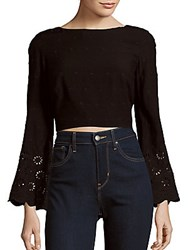 Winston White Shay Embroidered Top Black