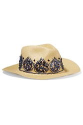 Tory Burch Embellished Straw Fedora Nude