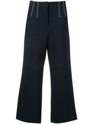 Veronica Beard Contrast Stitch Cropped Trousers Blue