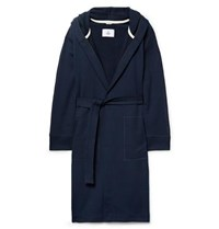 Reigning Champ Loopback Cotton Jersey Hooded Robe Navy