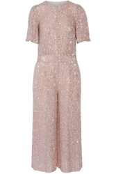 Olina Sequined Chiffon Jumpsuit Blush Metallic