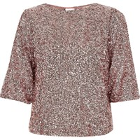 River Island Womens Pink Sequin Flute Sleeve Top