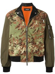 Dsquared2 Camouflage Leather Accent Bomber Green