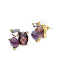 Lonna And Lilly Faceted Glass Stone Cluster Stud Earrings Burgundy