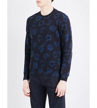 Sandro Floral Print Cotton Sweatshirt Navy Blue