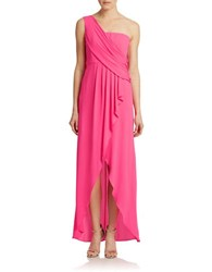 Bcbgmaxazria Kali Draped One Shoulder Gown Neon Pink