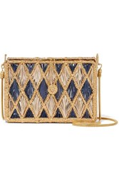 Magnetic Midnight Rombos Woven Palm Leaf And Gold Plated Shoulder Bag Blue