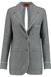 Missoni Split Back Crochet Knit Wool Blazer Blue