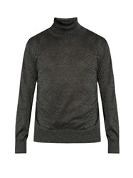 Jil Sander Roll Neck Metallic Knit Sweater Grey Multi
