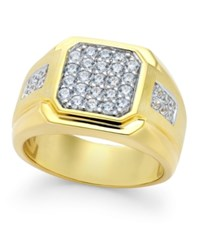 Macy's Men's Diamond Square Cluster Ring 1 Ct. T.W. In 10K Gold White