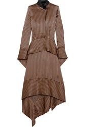 Petar Petrov Leather Trimmed Asymmetric Striped Silk Satin Midi Dress Bronze