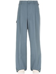 Salvatore Ferragamo Sartorial Loose Cotton Blend Pants Blue