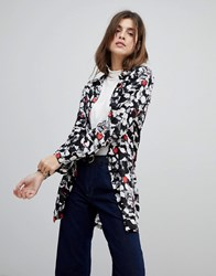 Rock And Religion Splodge Print Shirt Black Whte Red
