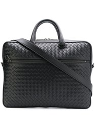 Bottega Veneta Intrecciato Weave Leather Briefcase Black