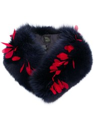 Mr And Mrs Italy Fox Fur Feather Scarf Blue