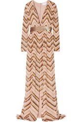 Zuhair Murad Sequin Embellished Georgette Gown Gold