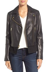 Via Spiga Petite Women's Mixed Media Leather Moto Jacket Black