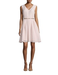Ellen Tracy Sleeveless Burnout Striped Fit And Flare Dress Blush