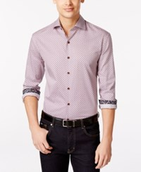 Tasso Elba Men's Foldito Diamond Print Long Sleeve Shirt Only At Macy's Garnet Combo