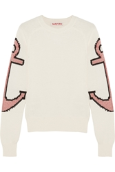 See By Chloe Anchor Intarsia Stretch Cotton Sweater