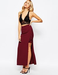Love Lace Up Side Midi Skirt Burgundy