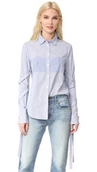 Tibi Shirt With Removable Straps Blue Stripe Multi