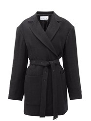 Raey Oversized Belted Cotton Blend Jacket Black
