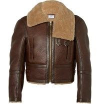 Vetements Cropped Shearling Aviator Jacket Brown