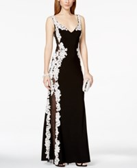 Betsy And Adam Lace Mesh Inset Gown