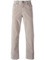 7 For All Mankind Corduroy Effect Straight Leg Trousers Nude Neutrals