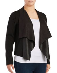 Junarose Faux Leather Accented Flyaway Cardigan Black