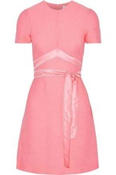 Sandro Isaure Silk Satin Trimmed Ribbed Woven Mini Dress Baby Pink