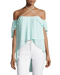 Cinq A Sept Carla Cold Shoulder Crossover Halter Top Light Aqua Blue