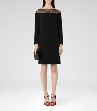 Reiss Claudia Womens Lace Detail Shift Dress In Black