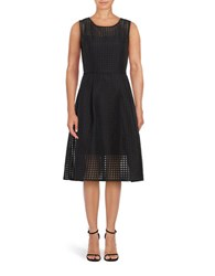 Ellen Tracy Sleeveless Geometric Fit And Flare Dress