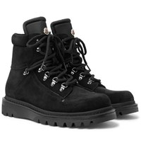 Moncler Egide Suede And Nylon Hiking Boots Black