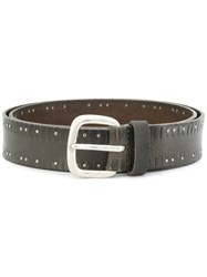 Orciani Studded Buckle Belt Leather Metal Brown