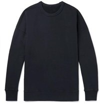Ten C Garment Dyed Fleece Back Cotton Jersey Sweatshirt Black