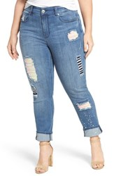 Melissa Mccarthy Seven7 Plus Size Women's Patch Detail Distressed Stretch Skinny Jeans