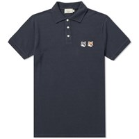 Maison Kitsune Double Fox Head Patch Polo Blue