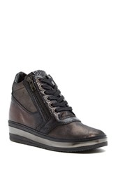 Summit By White Mountain Danelle Genuine Leather Wedge Sneaker Black