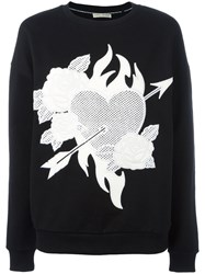 Each X Other Heart And Roses Patch Sweatshirt Black