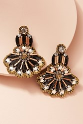 Anthropologie Bezel Drop Earrings Black